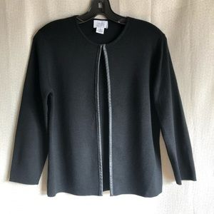 AT Loft Black Cardigan with Faux Leather Trim